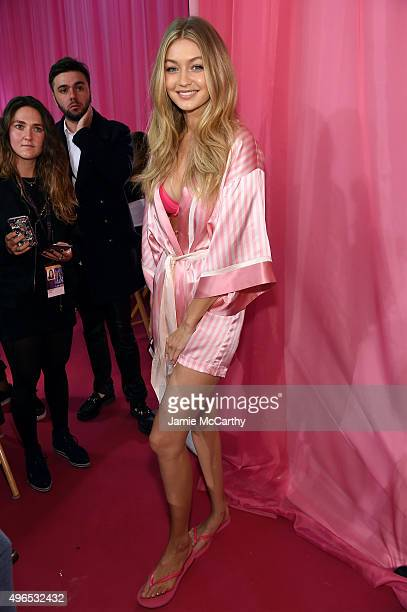 Gigi Hadid is seen backstage before the 2015 Victoria's Secret Fashion Show at Lexington Avenue Armory on November 10 2015 in New York City
