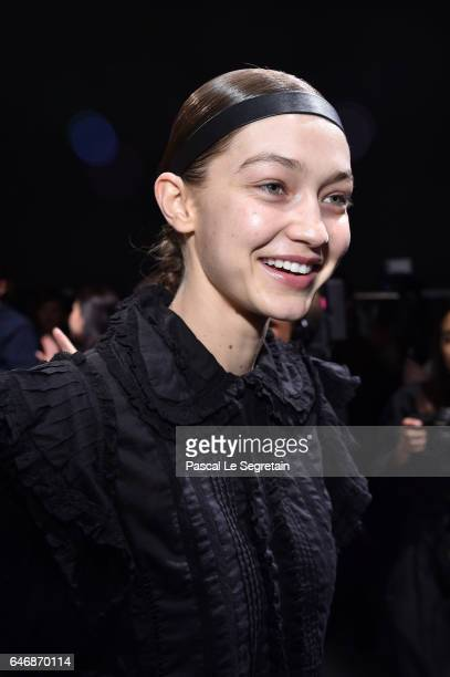 Gigi Hadid is seen backstage before the HM Studio show as part of the Paris Fashion Week on March 1 2017 in Paris France