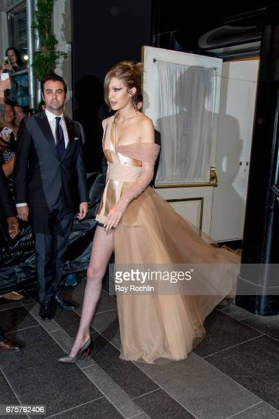 Gigi Hadid is seen departing the Carlyle Hotel to attend 'Rei Kawakubo/Comme des Garcons Art Of The InBetween' Costume Institute Gala on May 1 2017...