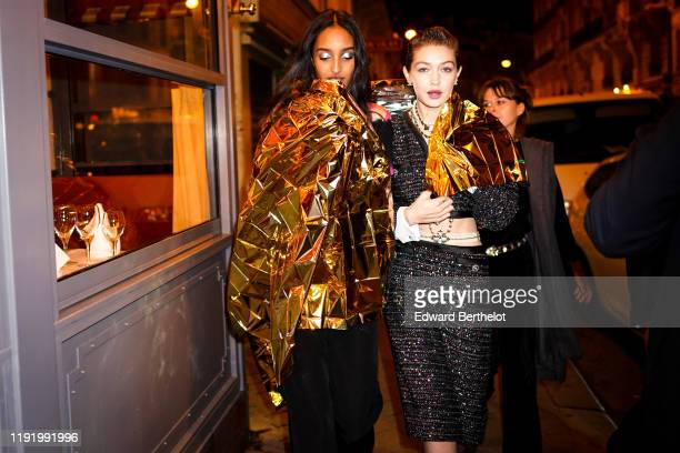 Gigi Hadid is seen, during the Chanel Metiers d'art 2019-2020 dinner at La Coupole restaurant, on December 04, 2019 in Paris, France.