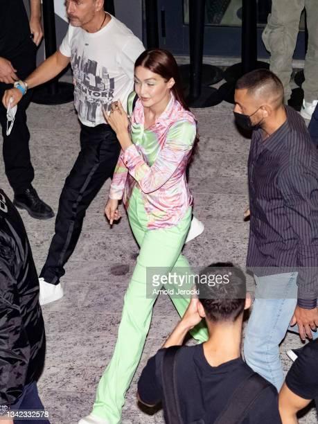 Gigi Hadid is seen during the Milan Fashion Week - Spring / Summer 2022 on September 24, 2021 in Milan, Italy.
