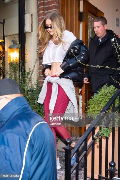 Gigi Hadid is seen in Greenwich Village on December 14 2017 in New York City