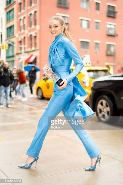 Gigi Hadid is seen in NoHo on April 05, 2019 in New York City.