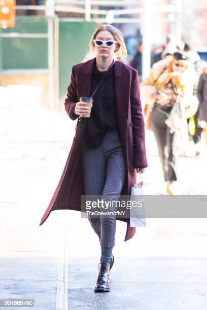 Gigi Hadid is seen in NoHo on January 6 2018 in New York City