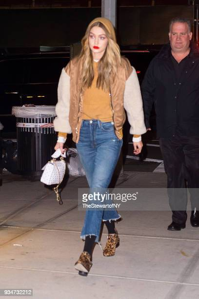 Gigi Hadid is seen in NoHo on March 19 2018 in New York City
