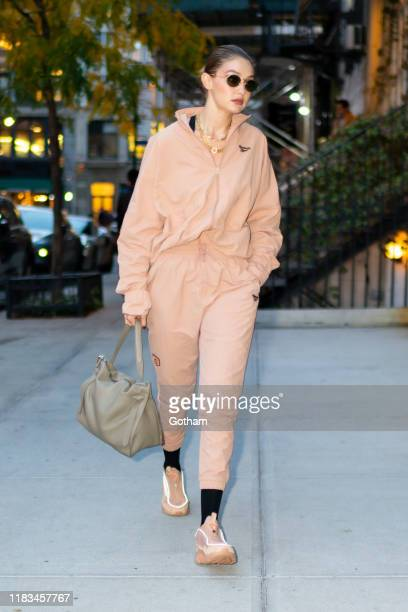 Gigi Hadid is seen in NoHop on October 25, 2019 in New York City.