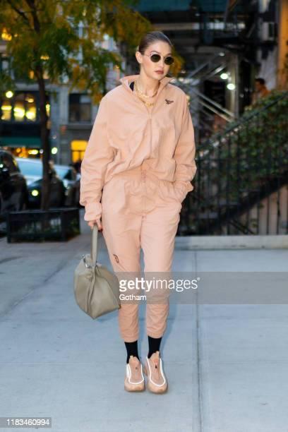 Gigi Hadid is seen in NoHop on October 25, 2019 in New York City.