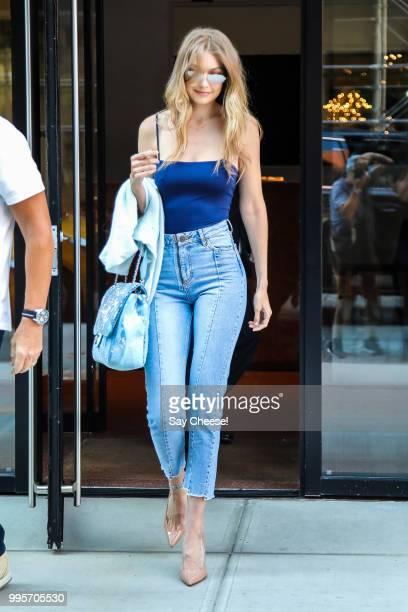 Gigi Hadid is seen in SoHo on July 10 2018 in New York City