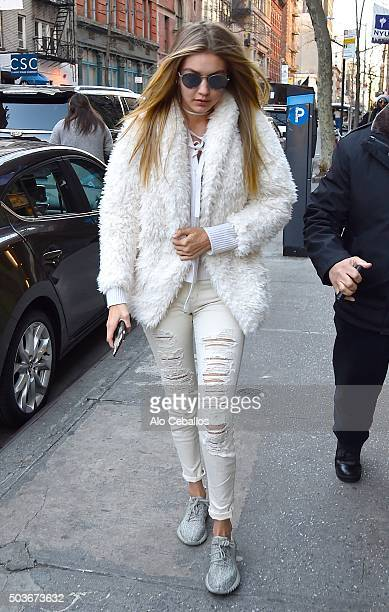 Gigi Hadid is seen in the East Village on January 6 2016 in New York City