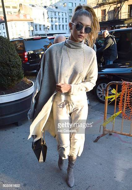 Gigi Hadid is seen in the Meat Packing District on January 4 2016 in New York City