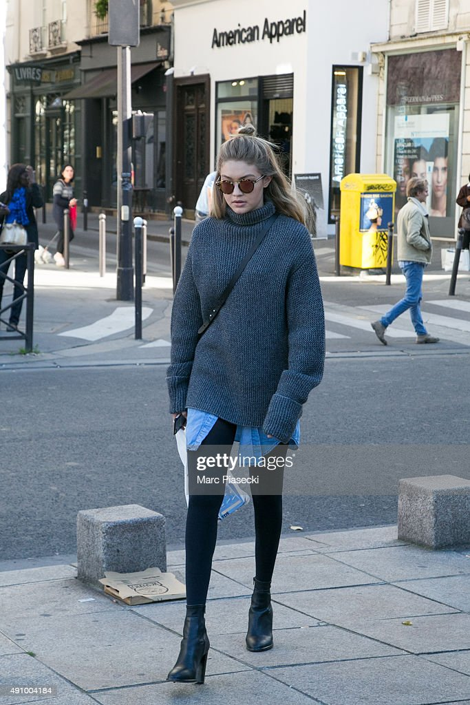 Gigi Hadid is seen in the 'Saint Germain des Pres' quarter on October 2, 2015 in Paris, France.