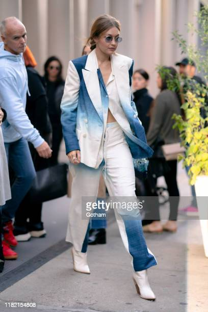 Gigi Hadid is seen in Tribeca on October 19, 2019 in New York City.