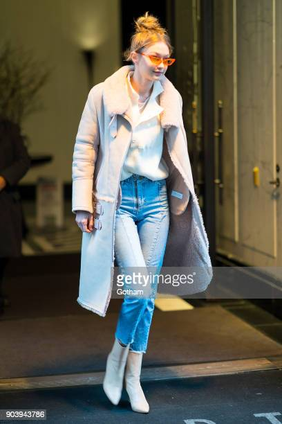 Gigi Hadid is seen in Tribecca on January 11 2018 in New York City