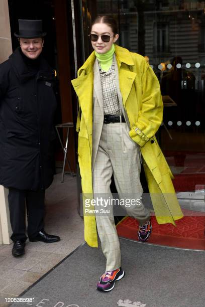 Gigi Hadid is seen leaving her hotel on February 24, 2020 in Paris, France.