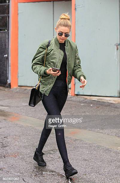 Gigi Hadid is seen on December 22 2015 in Los Angeles California