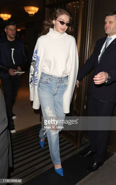 Gigi Hadid is seen on February 16 2019 in London England