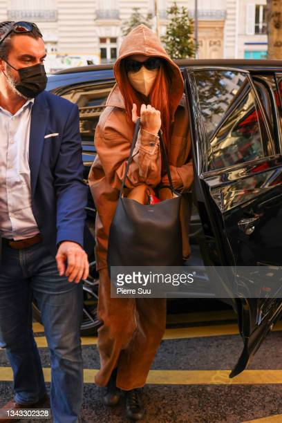 Gigi Hadid is seen on September 27, 2021 in Paris, France.