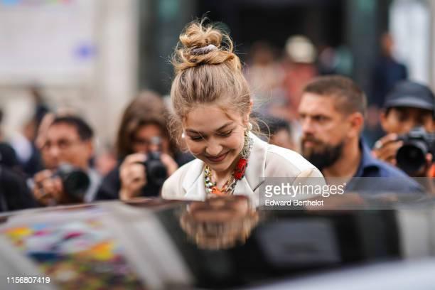 Gigi Hadid is seen, outside Heron Preston, during Paris Fashion Week - Menswear Spring/Summer 2020, on June 18, 2019 in Paris, France.