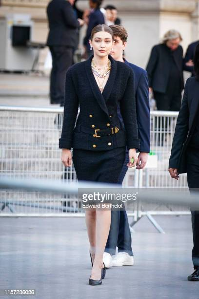 Gigi Hadid is seen outside Karl for Ever Tribute to Karl Lagerfeld at Grand Palais during Paris Fashion Week Menswear Spring/Summer 2020 on June 20...