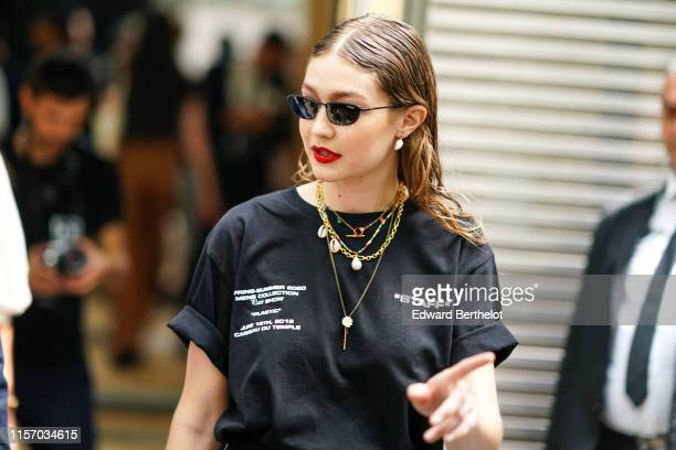 Gigi Hadid is seen, outside Off-White, during Paris Fashion Week - Menswear Spring/Summer 2020, on June 19, 2019 in Paris, France.