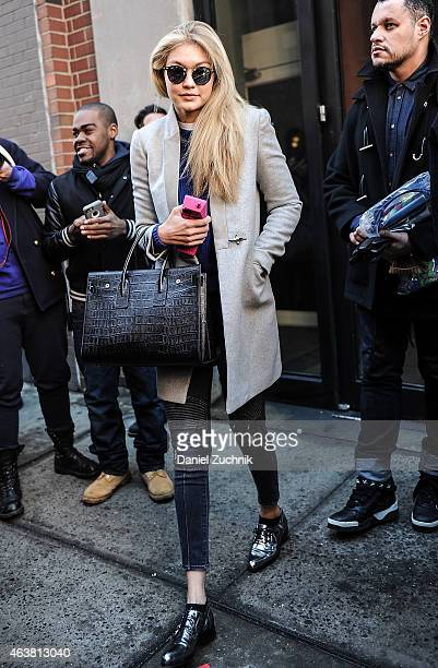 Gigi Hadid is seen outside the Jeremy Scott show on February 18 2015 in New York City