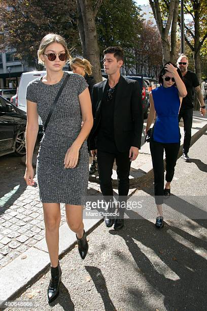 Gigi Hadid is seen strolling on 'Avenue Montaigne' on September 30 2015 in Paris France