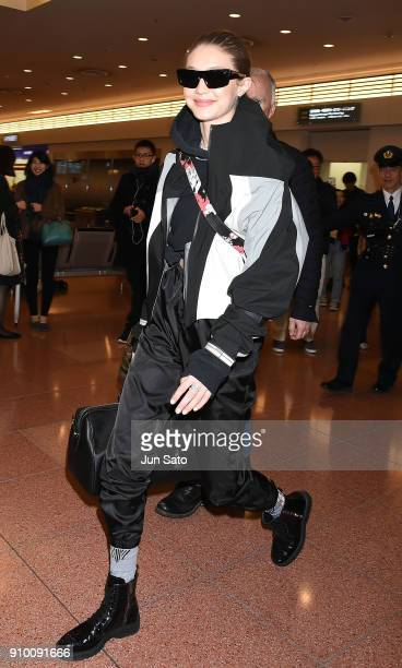 Gigi Hadid is seen upon arrival at Haneda Airport on January 25 2018 in Tokyo Japan