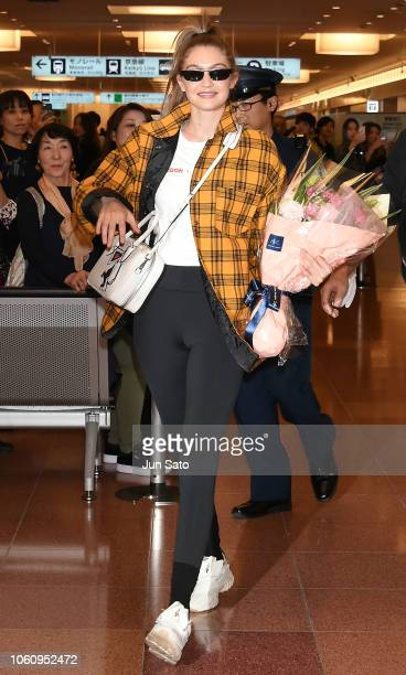 Gigi Hadid is seen upon arriving at the Haneda Airport on November 13 2018 in Tokyo Japan