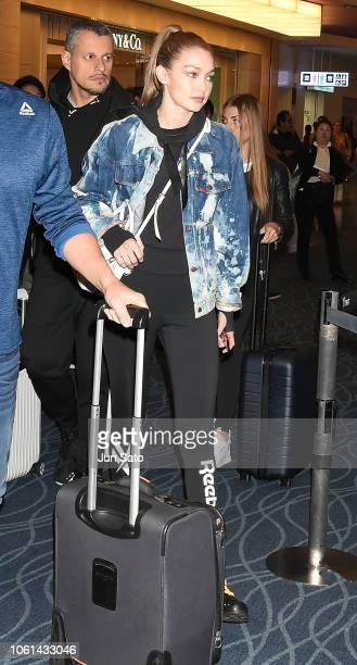 Gigi Hadid is seen upon departure at Haneda airport on November 14 2018 in Tokyo Japan