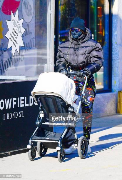 Gigi Hadid is seen walking SoHo on January 12, 2021 in New York City.