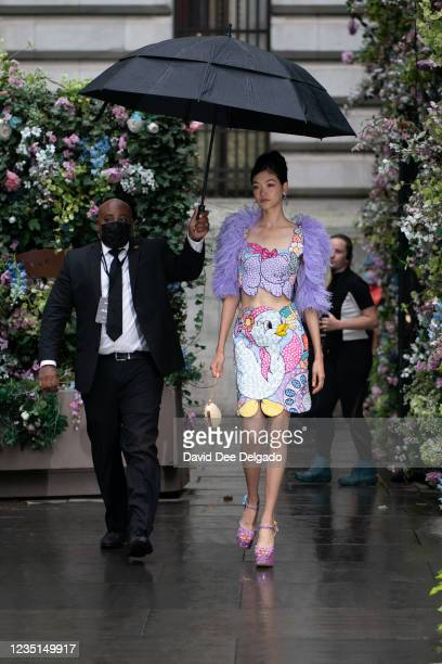Gigi Hadid is seen walking to the runway of the Moschino by Jeremy Scott Spring Summer 2022 fashion show during New York Fashion Week at Bryant Park...