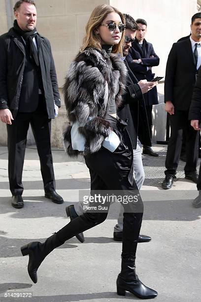 Gigi Hadid is sighted as she leaves the Chanel show the Chanel show as part of the Paris Fashion Week Womenswear Fall/Winter 2016/2017 on March 8...