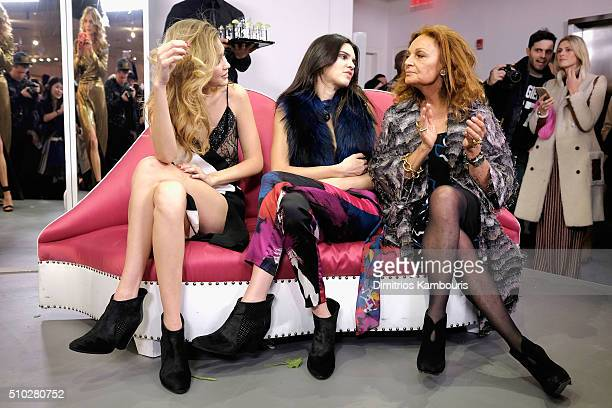 Gigi Hadid Kendall Jenner and Diane Von Furstenberg pose at Diane Von Furstenberg Fall 2016 during New York Fashion Week on February 14 2016 in New...