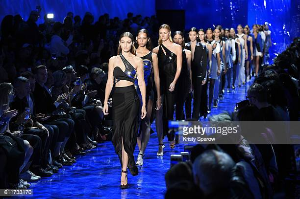 Gigi Hadid leads the runway finale during the Mugler show as part of Paris Fashion Week Womenswear Spring/Summer 2017 on October 1 2016 in Paris...