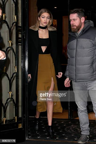 Gigi Hadid leaves her hotelon January 22 2016 in Paris France