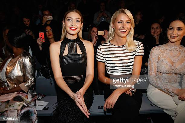 Gigi Hadid Lena Gercke and Mandy Capristo attend the 'The Power Of Colors MAYBELLINE New York MakeUp Runway' show during the MercedesBenz Fashion...