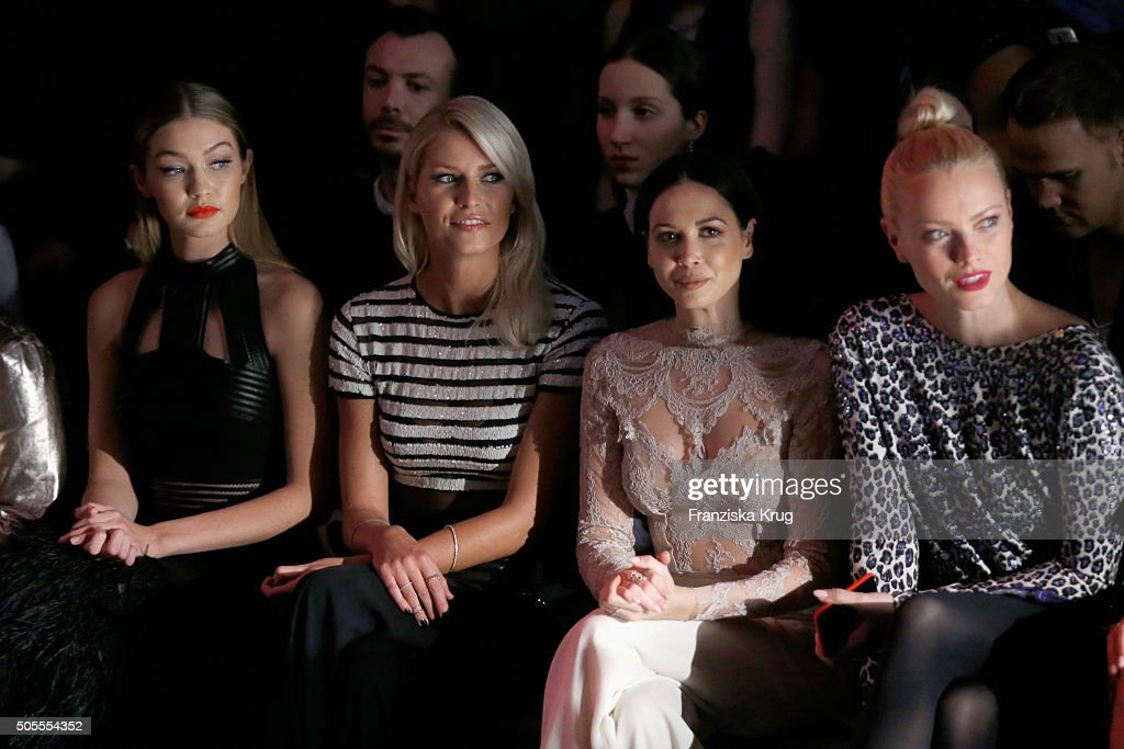 Gigi Hadid, Lena Gercke, Mandy Capristo and Franziska Knuppe attend the 'The Power Of Colors - MAYBELLINE New York Make-Up Runway' show during the Mercedes-Benz Fashion Week Berlin Autumn/Winter 2016 at Brandenburg Gate on January 18, 2016 in Berlin, Germany.