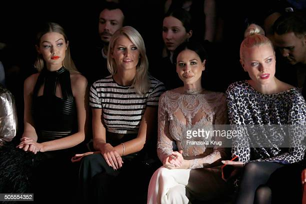 Gigi Hadid Lena Gercke Mandy Capristo and Franziska Knuppe attend the 'The Power Of Colors MAYBELLINE New York MakeUp Runway' show during the...
