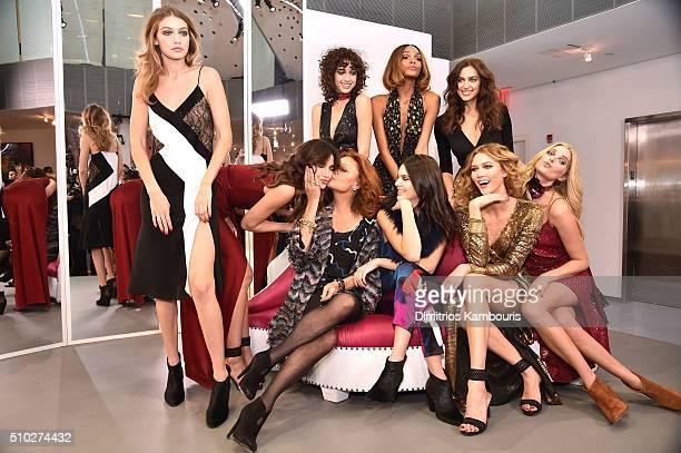 Gigi Hadid Lily Aldridge Alanna Arrington Jourdan Dunn Irina Shayk Diane Von Furstenberg Kendall Jenner Karlie Kloss and Elsa Hosk pose wearing Diane...