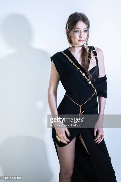 Gigi Hadid poses backstage ahead of the Versace show at Milan Fashion Week Autumn/Winter 2019/20 on February 22 2019 in Milan Italy