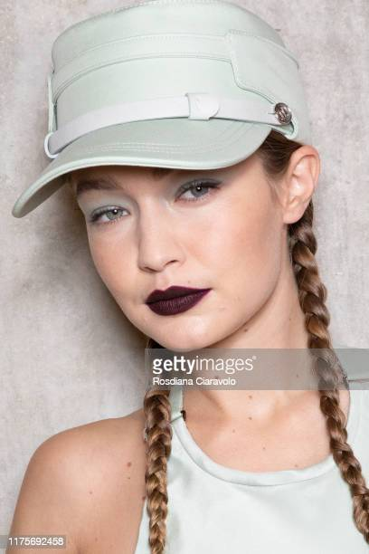 Gigi Hadid poses during the backstage for Max Mara fashion show during the Milan Fashion Week Spring/Summer 2020 on September 19 2019 in Milan Italy