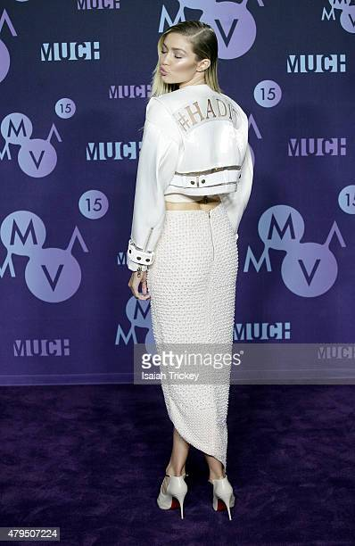 Gigi Hadid poses in the press room at the 2015 MuchMusic Video Awards at MuchMusic HQ on June 21 2015 in Toronto Canada