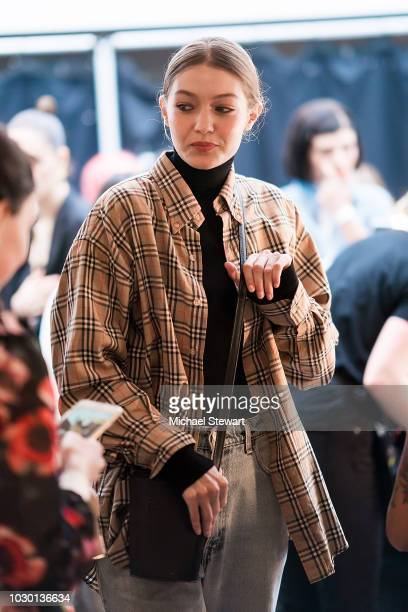 Gigi Hadid prepares before the Prabal Gurung fashion show during New York Fashion Week The Shows at Gallery I at Spring Studios on September 9 2018...
