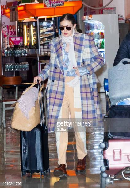 Gigi Hadid returns to New York from Paris on March 03 2020 in New York City
