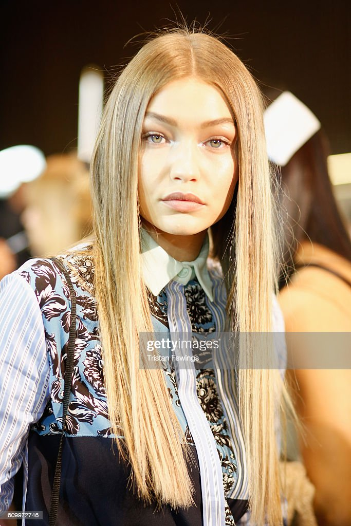Gigi Hadid seen backstage ahead of the Versace show during Milan Fashion Week Spring/Summer 2017 on September 23, 2016 in Milan, Italy.