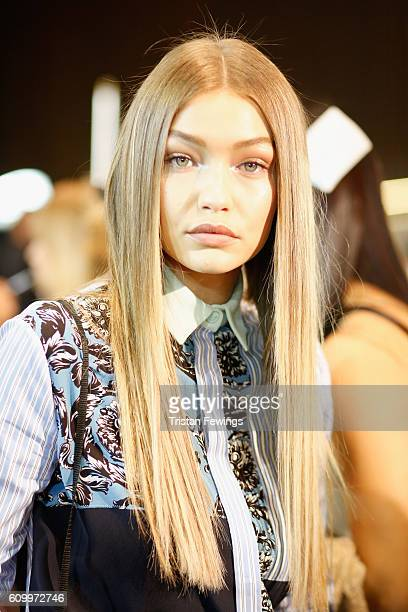 Gigi Hadid seen backstage ahead of the Versace show during Milan Fashion Week Spring/Summer 2017 on September 23 2016 in Milan Italy