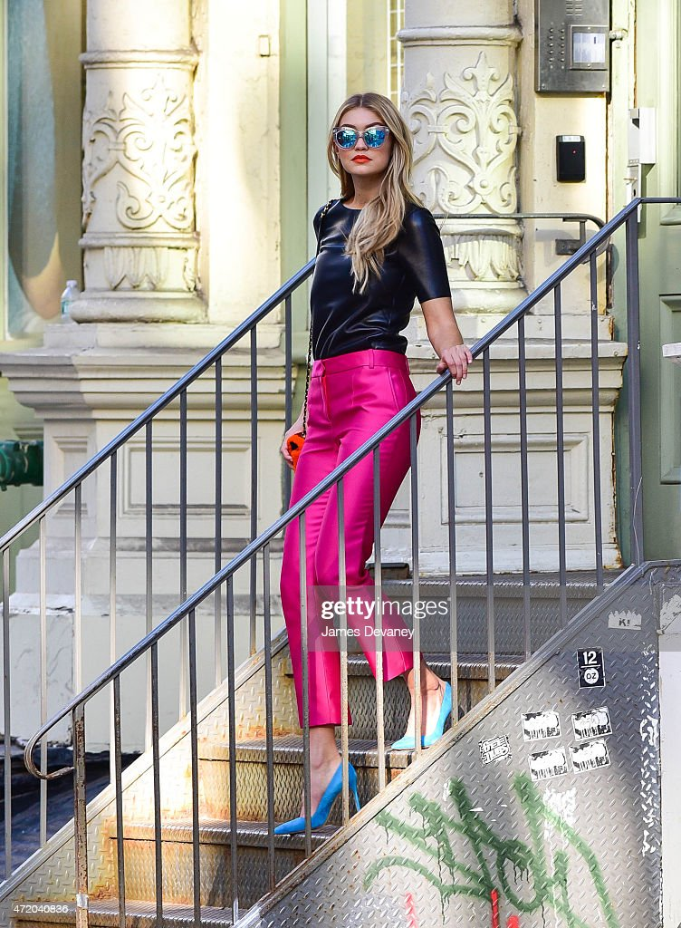 Gigi Hadid seen filming a Maybelline commercial in SoHo on May 2, 2015 in New York City.