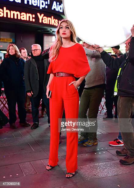 Gigi Hadid seen filming a Maybelline commercial in Times Square on May 2 2015 in New York City