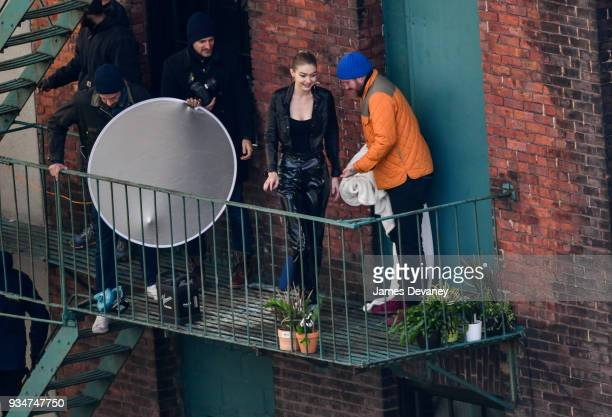 Gigi Hadid seen on a fire escape for a photoshoot in Brooklyn on March 19 2018 in New York City