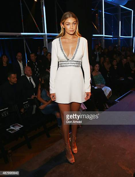 Gigi Hadid sits front row at the David Jones Spring/Summer 2015 Fashion Launch on August 5 2015 in Sydney Australia